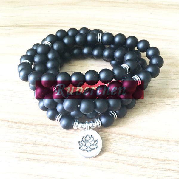 2018 Trendy India Stone Bracelet or Necklace Top Sale Women`s Wrap Bracelet 108 Mala Fancy Stone Beads Mala