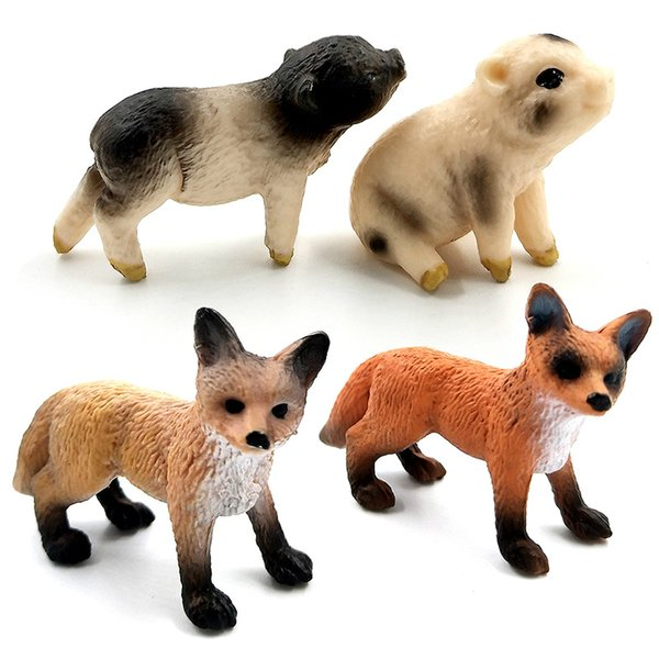 Mini Simulation Red Fox Cochon miniature jardin Ferme Volaille Porket Figurine Animal Décoration Accessoires Décor Jouets En Plastique