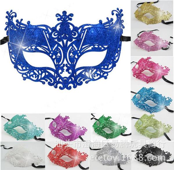 Máscara de luxo Mulher No Vara Sexy Eyeline Venetian Máscara Do Partido Do Disfarce Lantejoulas Rendas Borda Lateral Flor de Prata de Ouro Preto Branco cor
