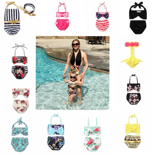 Baby Striped printed flower Bikinis Halter summer swimming suit Fashion Baby Girl Summer Kids Halter Stripe Swimwear 12colors FFA075