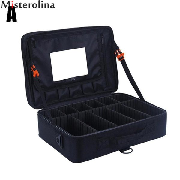 Misterolina Portable Oxford Waterproof Large Capacity Makeup Bag Makeup Tools Cosmetics Travel Case With Compartments HWZ1077