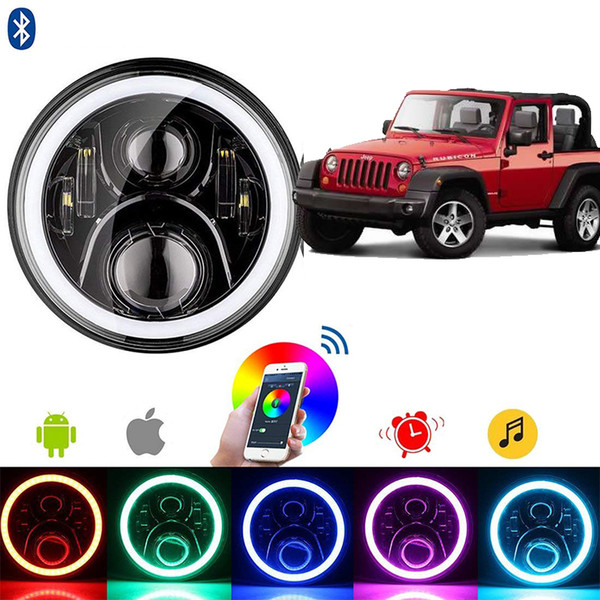 "top popular 7"" 60W LED Headlight RGB Halo Angel Eye With Bluetooth Remote For 2007~2016 Jeep Wrangler JK LJ CJ Hummer H1 H2 2021"