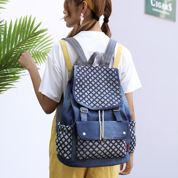 2018 Women Bucket BackpacPreppy style School Bag For Teenagers Girls Female  Canvas Travel Rucksack Big Space 5d7470cad66a0