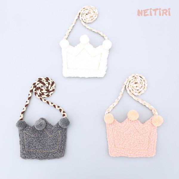 INS Children Crossbody Bag for Girls Cool Crown Winter Kids Fringe Bag Bow Messenger Bags Handmade Small Bag Coin Ball Purse 638