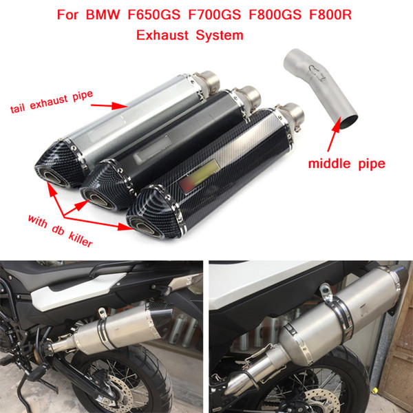 Motorcycle Stainless Steel Middle Connecting Pipe With Tail Exhaust Muffler Pipe Silp on for BMW F650GS F700GS F800GS F800R