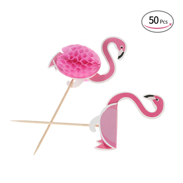 50pcs 3D Flamingo Cake Decor Toothpicks Cupcake Topper Cake Picks Decorations for Hawaii Luau Beach Wedding Birthday Party