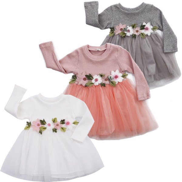 3Colors-1Pcs Baby Girls Dress Cute Flower Birthday Party Princess Pageant Prom Dress 3M-3Y