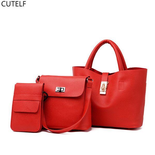 3Pcs/Set Leather Handbag For Women 2018 Large Capacity Tote Shoulder Bag Ladies Purses And Handbags Sac A Main Bolsa Feminina