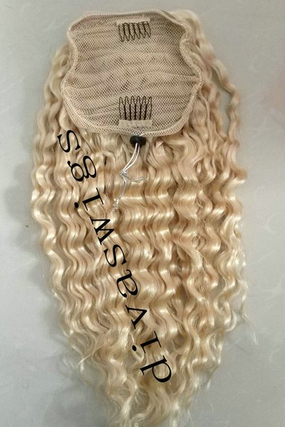 Bleached blonde Deep curly Ponytail virgin hair extension drawstring clip in curly blond hair piece ponytail real hair fast delivery