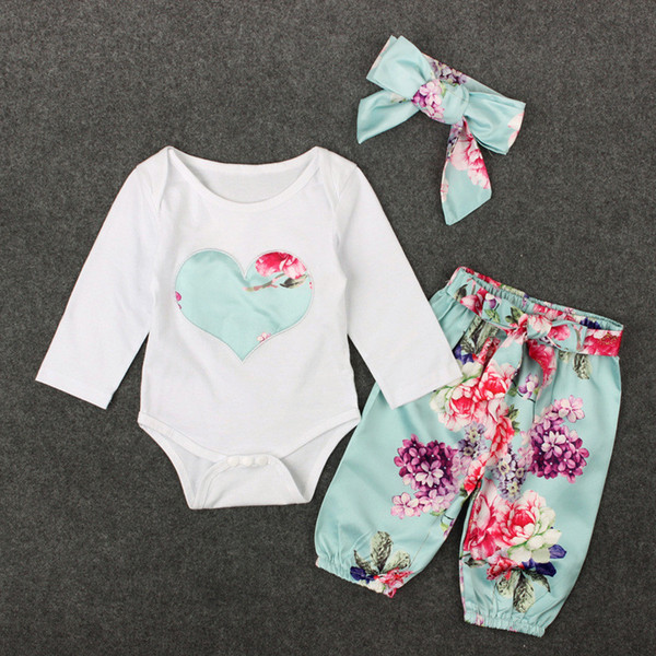 3Pieces Set Baby Girls Clothes Romper Spring Autumn Kids Heart Embroidery Tops+ Floral Pant Outfits Children Girl Clothing Set Retail K0237