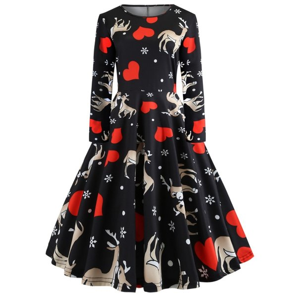 4252f75c39f2 Christmas Dress Gifts Santa Claus Print Flare A Line Dress Round Neck Long  Sleeves Women Vintage