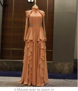 SoAyle 2018 High Neck Evening Dresses Long Sleeves Gorgeous Chiffon Women's Formal Dresses Muslim Dresses Dubai Styles Arabia