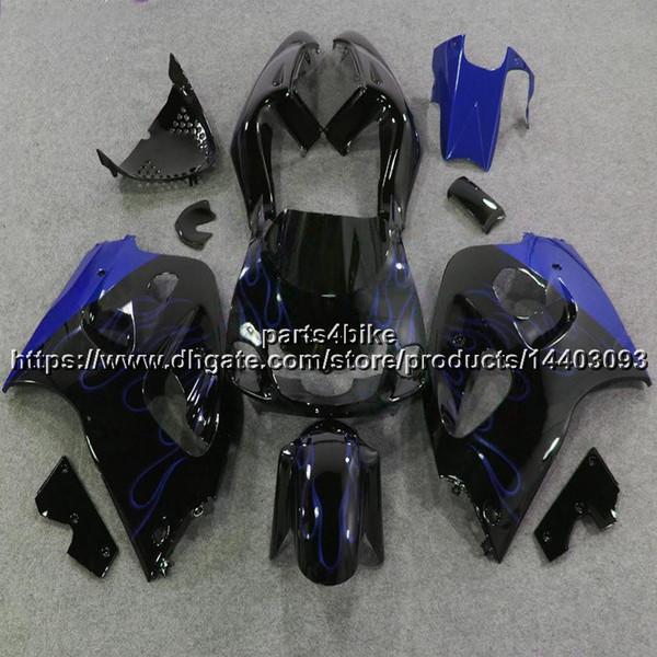 5Gifts ++ Custom ABS blaue Flammen Verkleidung für Suzuki GSX-R600750 1996 1997 1998 1999 2000 GSXR 600 750 Karosserie Motorradartikel