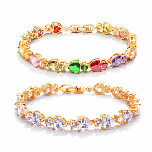 FATE LOVE Beautiful Cute Wedding Bridal Heart Bracelets & Bangles for Women Ladies Colorful stone Gold color Fashion Jewelry
