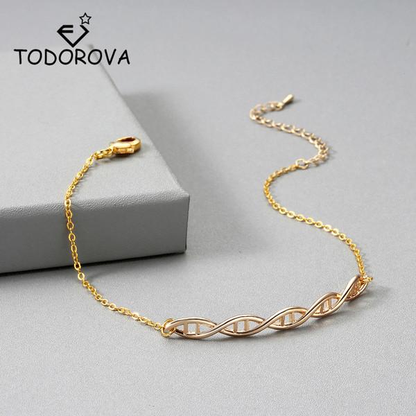 Todorova Nurse Jewelry Double Helix Bracelets & Bangles Women Hormone DNA Bracelets Chemistry Molecule Statement Jewelry