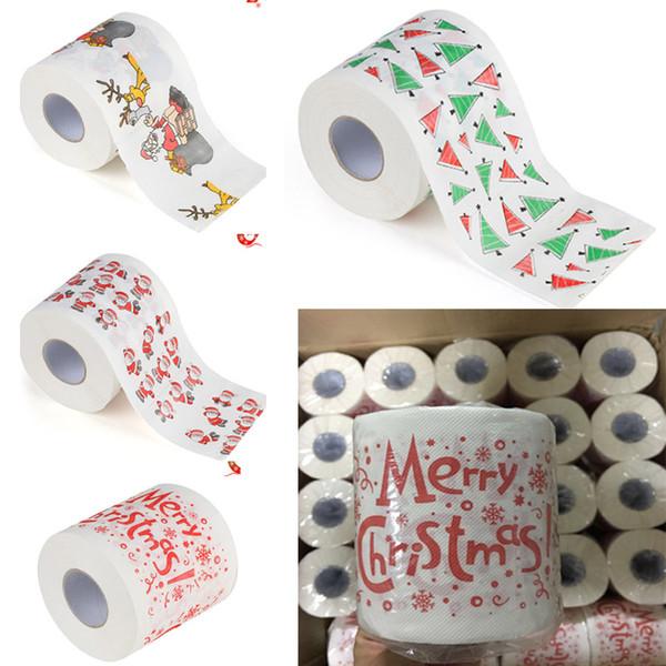 Motif De Noël Papier D'impression Rouleau Serviettes Papier Mode Drôle Humour Gag De Noël Décoration Cadeaux 5 style HH7-1711