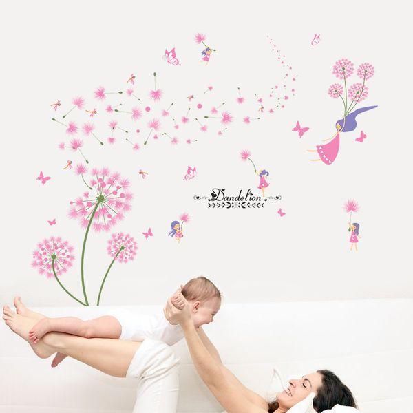 Dekoration Poster Aufkleber [SHIJUEHEZI] Rosa Löwenzahn Wandaufkleber Blume Engel Wandtattoos Vinyl DIY Wohnkultur für Wohnzimmer