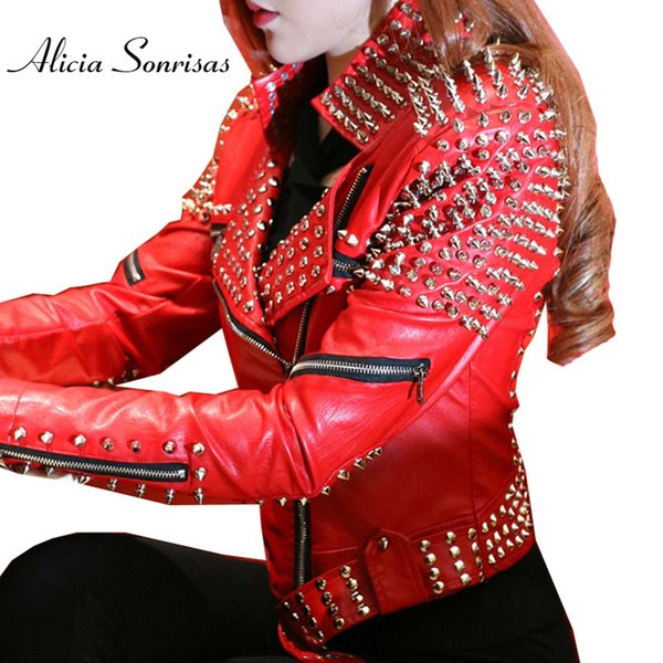 Red Leather Jacket Women Punk Rivets Studded Motorcycle Leather Spiked Jackets Veste En Cuir Femme Cazadora Cuero Mujer