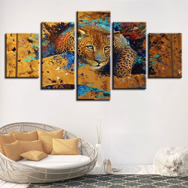 Wall Art Canvas Painting Modular 5 Pieces Animal Leopard Tiger HD Pictures Framework Home Decor Living Room Poster Modern Prints