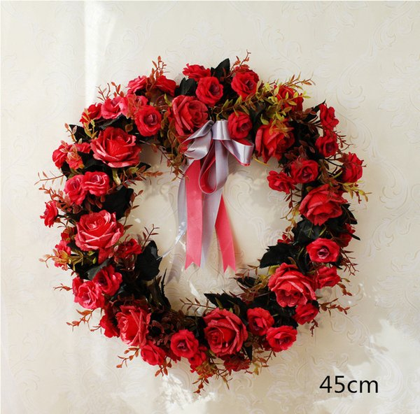 Wedding Artificial Peony Rose Wreath Door Lintel Flower Wedding Christmas Home Door Decoration Mirror Flowers Bouquet with Fake Leaf