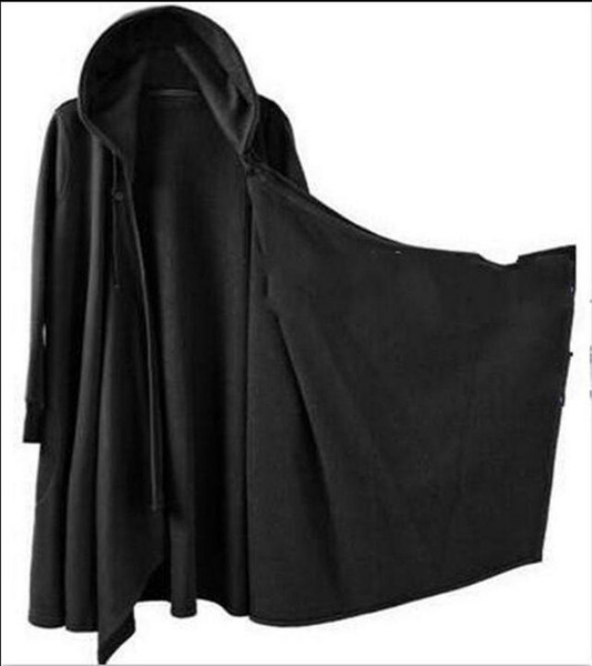Mens punk gótico longo casaco capa do cabo solto casual preto trench outwear g19