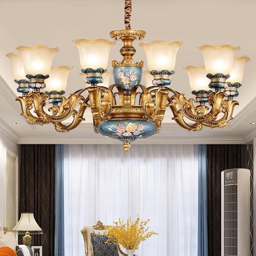 Pendant lights European resin pendant chandelier lamps elegant luxury vintage American royal led pendant lightings with free bulbs