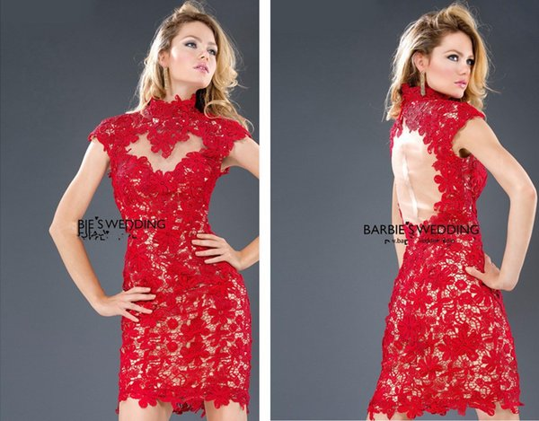free shipping 2018 hot&sexy backless vestido de festa curto High collar Party prom gown red lace short mini Cocktail Dresses