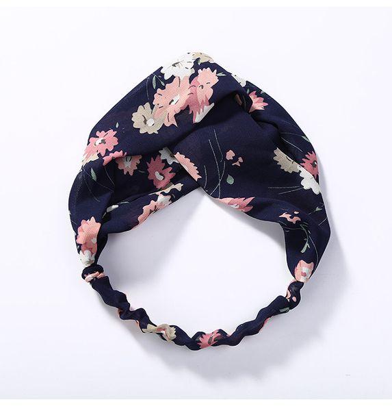 Cross hair band small fresh and simple elastic narrow edge broken flower knot fabric hoop wholesale