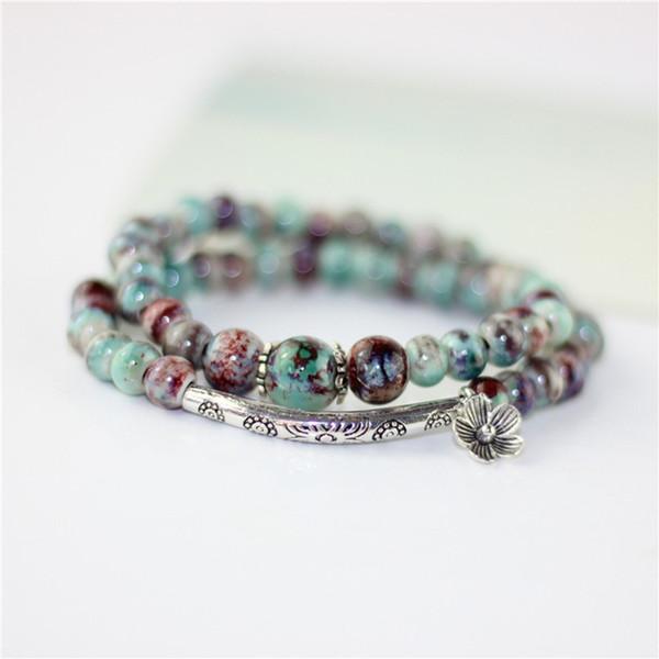 Fleur Céramique Perles Double Bracelets Naturel Pierre Charme Accessoires À La Main Bronze Porcelaine Déclaration Bracelets De Mode Cadeau