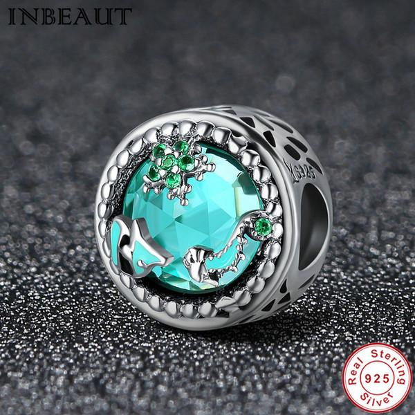 Пандора стиль модные 925 стерлингового серебра океан зеленый цирконий Шарм женщины ювелирные изделия бисер fit Pandora подвески браслет подарки