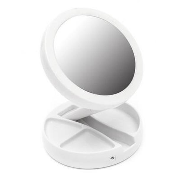 Portable Led Travel Folding Compact Mirror With Light Touch Screen Double-sided 10x Magnifying Lighted Handbag Makeup Mirrors