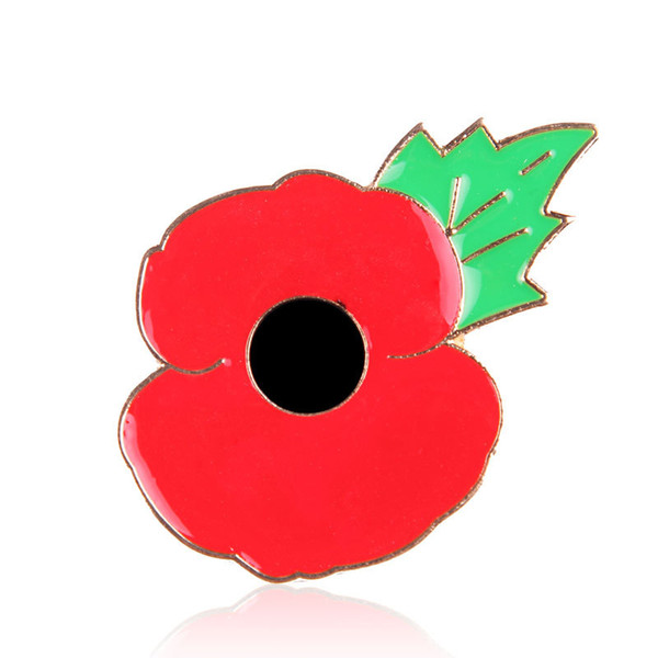 High Quality Red Poppy Flower Brooches Pin For Women Men Suit Shirt Broach Small Lapel Pin Badge Enamel Breastpin UK Style Remembrance Day