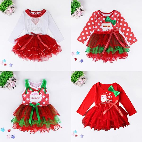 Girls Christmas Dresses Santa Bowknot Dot New Year Dress Christmas TUTU Skirt Kids Dress Girls One-piece Dress 1-6T