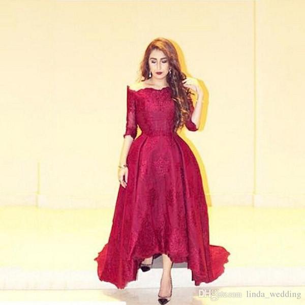 Wine Red Long Evening Dress Dubai Kaftan With Seeves Dress Formal Event Gown Plus Size robe de soire vestido de festa longo