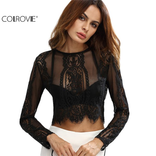 COLROVIE Lace See-through Crop Shirt Women Blouse Autumn Round Neck Long Sleeve Sexy Ladies Tops Zipper Back Blouse Y1891109