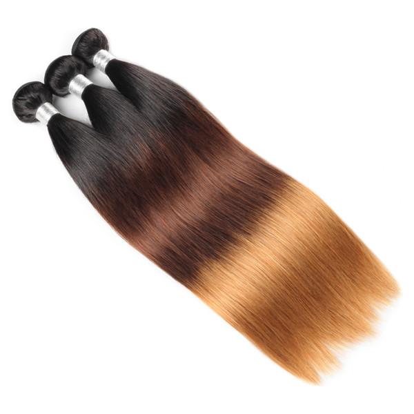 Sınıf 10A Ombre Perulu Düz Saç Virgin İnsan Saç Uzantıları 1B / 4/27 Ombre 3 Adet Hint Düz Saç Malezya Demetleri