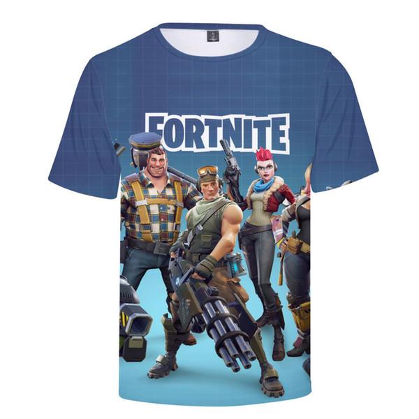 Men's Summer Original 3D Short Sleeve European and American Big Size Fashion Men's T-shirt Gun Battle Printing T-shirt