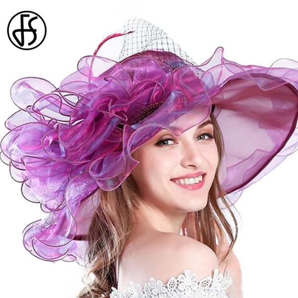FS 9 Colors Fashion Summer Organza Sun Hats For Women Elegant Laides Church Vintage Hat Wide Large Brim With Big Flower S18101708