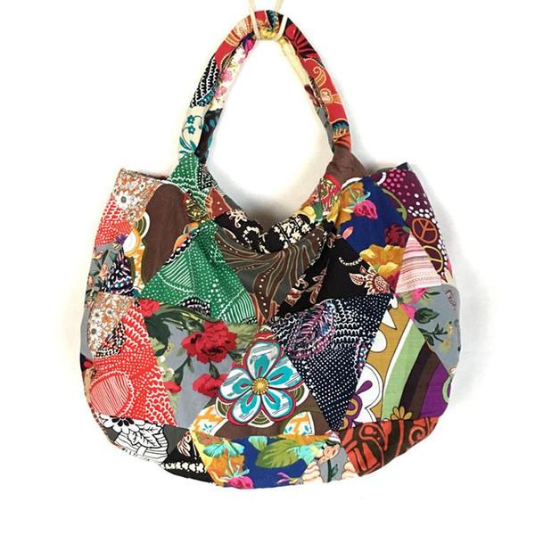 5048e530b3 Wholesale- 2017 New Unique Handbag Shoulder Tote Bag Women Cotton Hippie  Ethnic Patchwork Bohemian Handbags Womens Handmade free shipping