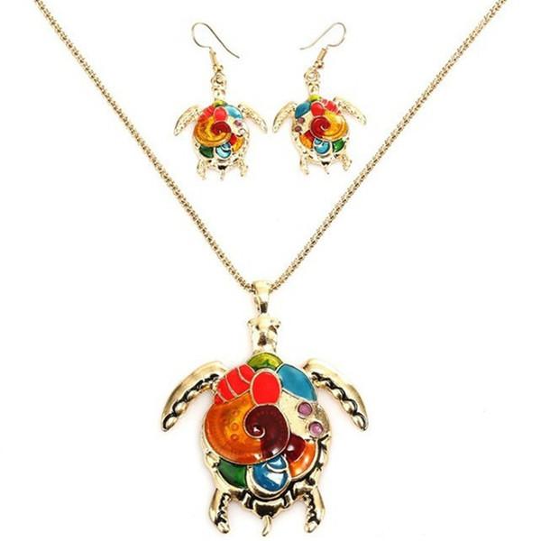 LUFANG Fashion Color Femme Party Bridal Animal Wedding Tortoise Jewelry Sets Classic Bride Necklace Vintage Maxi Necklace Women
