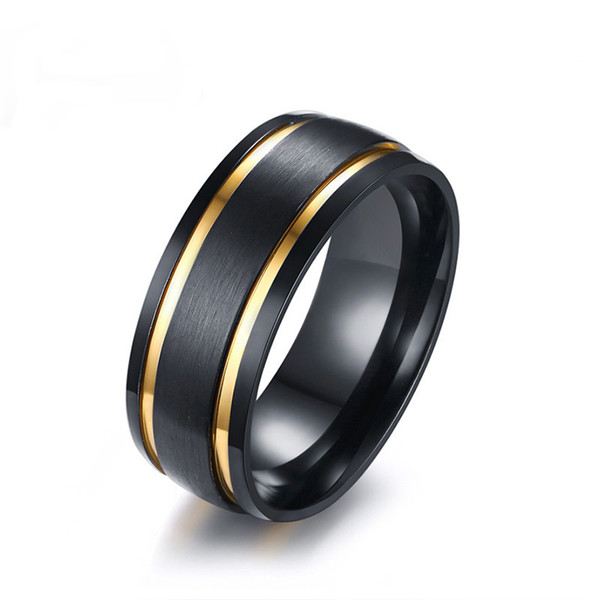 Mens Brushed Wedding Bands Rings Stylish 8MM Gold Color Double Grooved Black Male Boy Finger Rings Gift Comfort Fit US Size 9-13