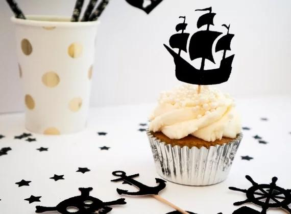 Glitter Pirate Ship Flag Skull Nautical birthday cupcake toppers baptism Christening party decoration doughnut food treats picks