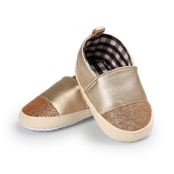 Neugeborenes Baby Mädchen Jungen Schuhe Pu-leder Mischfarben Infant Kleinkind Kinder Erste Wanderer rutschfeste Soft Soled Loafers