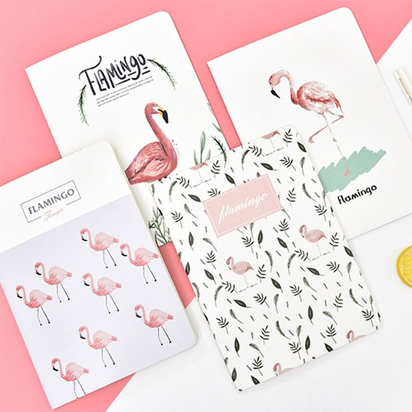 4PCS B5 Cute Notebook Paper Flamingo Cat Pattern Lined Paper Journals Notepad Cute Stationery School Office Supplies/25.5*18 cm