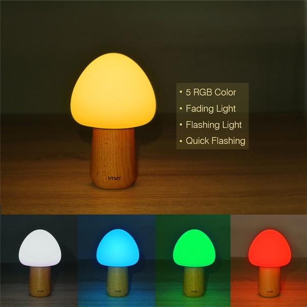 USB recargable LED luz de la noche 5 colores inalámbrico de control remoto ajustable brillo seta lámpara de escritorio de gel de sílice