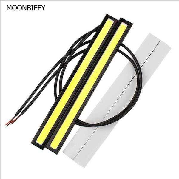 MOONBIFFY 1 Pcs Car styling Ultra Lumineux 12 W LED Feux de jour Feux DC 12 V 17 cm Étanche Auto Voiture DRL COB Conduite Brouillard lampe
