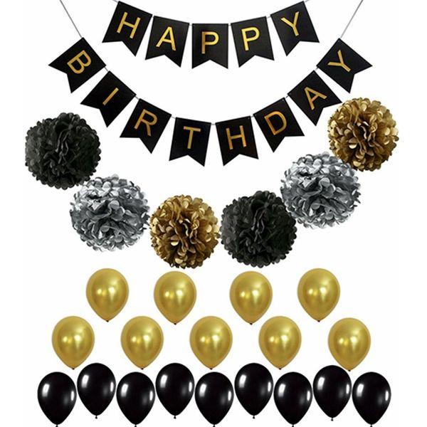 Mutlu Doğum Günü Balon Siyah Altın Balon Kağıt Çiçek Topu Bebek Doğum Günü Mektup Afiş Çekin Bayrak Balonlar Dekorasyon Doğum Günü