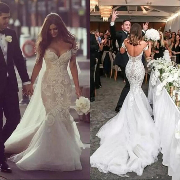 top popular Steven Khalil 2019 Dubai Arabic Wedding Dresses Off the Shoulder Sweep Train Beaded Pearls Backless Lace Bridal Gowns Mermaid Wedding Dress 2019