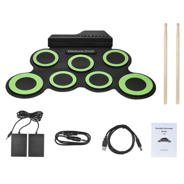 top popular HOT Portable Digital Electronic Roll Up Drum Set Kit 7 Silicon Drum Pads USB Powered with Drumsticks Foot Pedals Compact Size 2021