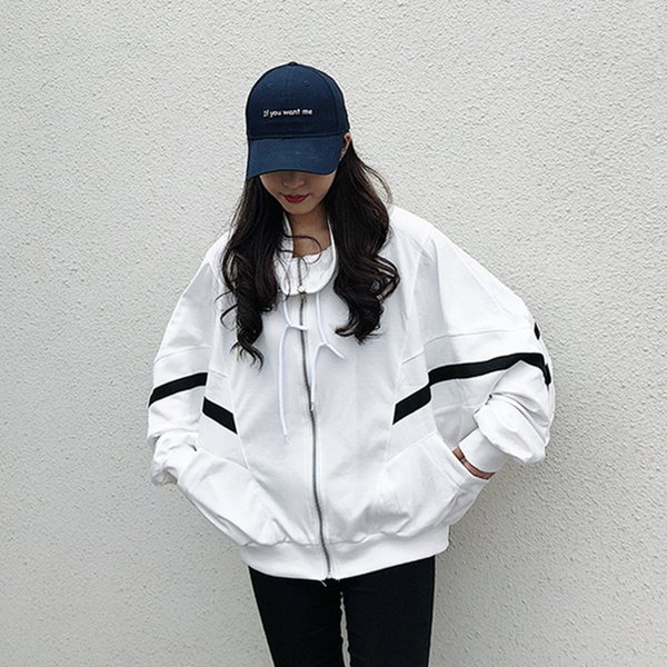 Spring Autumn Women White Jackets Fashion Batwing Sleeve Stand Collar Outerwear Plus Size Loose Casual Female Overcoats Z249